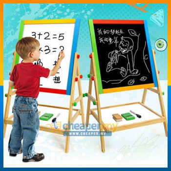 2 in 1 Children Blackboard & Whiteboard Wooden Easel Magnetic Board