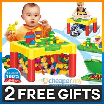 [CLEARANCE] 2 in 1 DIY Kids Educational Learning Desk and Bricks Set 90pcs