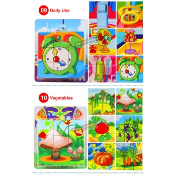 [CLEARANCE] Baby Kids Jigsaw Puzzles Children Wooden Toys 9pcs (6 in 1)