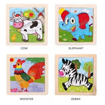 11cm Wooden Jigsaw Puzzle Animal Haiwan Vehicle Ocean Farm Series Early Education for Kids Books Toys