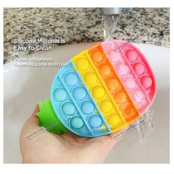 Rainbow Pelangi Pop It Fidget Toys Push Bubble Squishy Stress Reliever Needs Anti-Stress for Adult Children