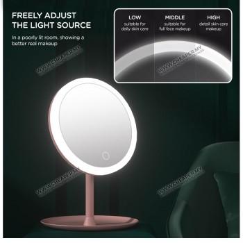 USB 3 Mode LED Light Makeup Beauty Makeup Mirror Cermin Adjustable Rotation Countertop Cosmetic Mirror