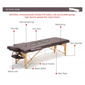 Massage King Portable Folding Massage Bed Table (High Grade PU Leather)