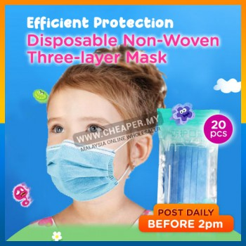 Children 3-Ply Non-Woven Filter Disposable Protective Surgical Face Mask 20pcs Zipper Bag