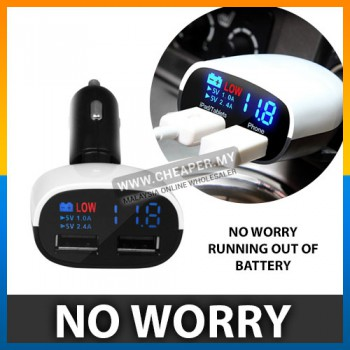 3.4A Dual Port Fast Charger Usb Charger With Car Batteries Voltmeter