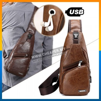 USB Charging Port Chest Sling Bag PU Leather Fashion Men Cross-body Sling Bag