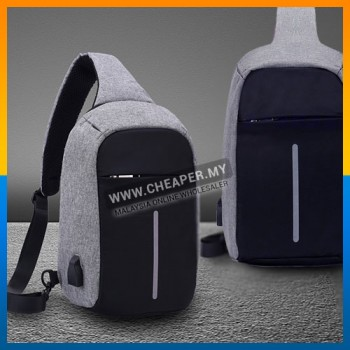 Anti Theft Cut Proof Sling Bag USB Charging Port Travel Sling Cross-body Chest