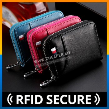 Men New Trend Wallet Card Cash Holder Genuine Leather RFID SECURE Blocking Zipper Pocket Unisex