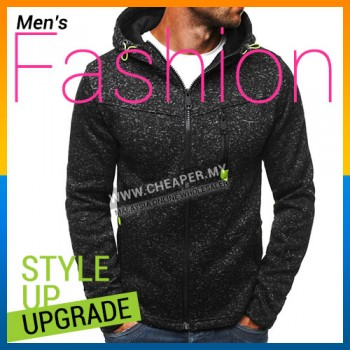 Men's Season Autumn Hoodies Sweater Stylish Contrast Long Sleeve Zip-Up Thickened Outerwear