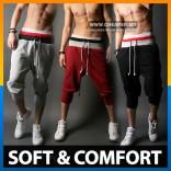 Casual Mens 3/4 Knee Jogger Sport Shorts Baggy Gym Harem Pants Rope Tr
