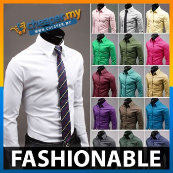 Korean Men Casual Fashion Solid Candy Colored Long-Sleeved Shirt