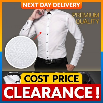 [CLEARANCE] Men Classic Long Sleeve Shirt Premium High Quality Wrinkle Free Fabric