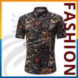 Men's Short-Sleeved Top Summer Break Hawaii Casual Printed Floral Collar Button Slim Thin Fit Shirt