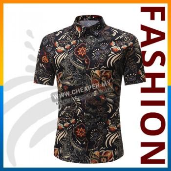 Men's Short-Sleeved Top Summer Break Hawaii Casual Printed Floral Collar Button Slim Thin Fit Shirt