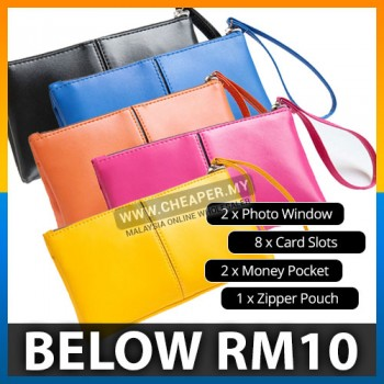 Long Purse Ladies Wax PU Leather Card Holder Clutch Phone Wallet Compartment