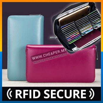 Women Unisex Leather Multi Compartment Card Holder Wallet RFID SECURE Blocking Zipper Pocket Capacity