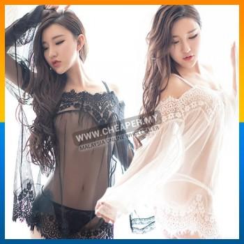Sexy Lace Dress See-through Lady Nightwear Sleepwear Gauze With Underwear
