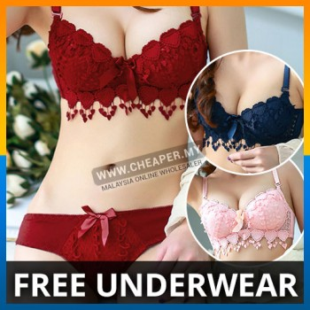 Dreams Angels Coverage Sexy Floral Lace Padded Push-up Shaped-up Bra Set Adjusted-Straps Long Line Lace