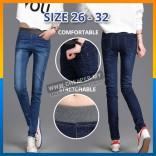 Korean Skinny Fit Casual Style Denim Jeans Elastic High Waist Pencil Pants Trousers