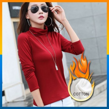 Turtle Neck Long Sleeve T-Shirts High Neck Warm Top Cotton Shirt Solid Color