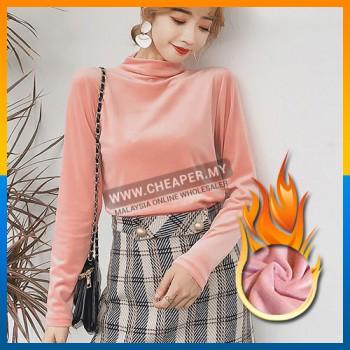 Korean Version Velvet Solid Color Turtle Neck Fuzzy Soft collar long-sleeved