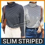Autumn New Style Slim Striped High Collar Minimalist Fashion Bottoming Shirt