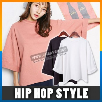 Korean Version Hip Hop Solid Color Seven-Point Sleeve T-shirt Loose Free Style