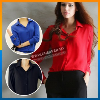 Spring Color Elegant Casual Loose Chiffon Blouse Female Long Sleeve All Occasion
