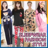 Spring Autumn Women Ladies Sleepwear Pyjamas Nightwear Long Sleeve Pants Set
