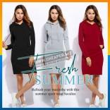 Cool Fashion Hoodie Maxi Dress Autumn Slim Bodycon Fleece Sweater Women clothing