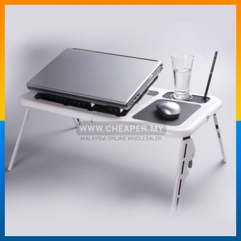 Portable Foldable Laptop E-Table Notebook Desk & Cooler Cooling Fan