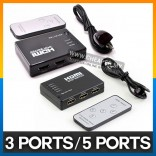 3/5 Ports HDMI Switch Selector Switcher Splitter Hub with Remote Control