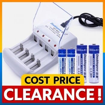 Doublepow Rechargeable 4pcs Battery AA 1200mAh / AAA 900mAh / Charger