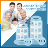 2/3 Layer Extension Cord Vertical Socket Tower with Dual USB Port