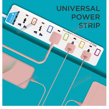 3/4/5/6 Way International Extension Trailing Socket 3 METER Cable Sambungan Soket Connecting The Future