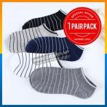 1 PAIR Unisex Low Ankle Stripe Sport Casual Outing Cotton Men Women Socks