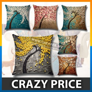 [CLEARANCE] 3D Painting Trees Flowers Linen Printed Pillow Case Cushion Cover
