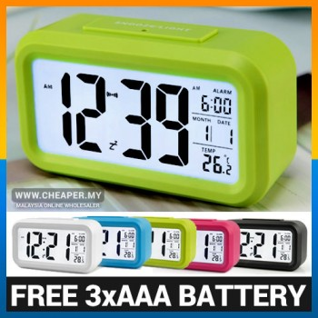 FREE BATTERY LED Digital Alarm Smart Clock Touch Sensor Temperature