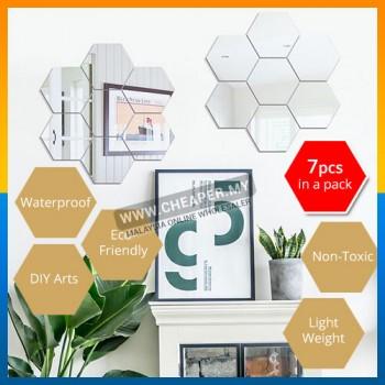 3D Hexagonal Decorative DIY Wall Art Room Home Decor Acrylic Mirrored 7pcs