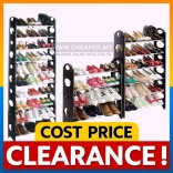 [CLEARANCE] DIY Simple 2 4 6 8 10 Tier Stainless Steel Shoe Rack Multipurpose