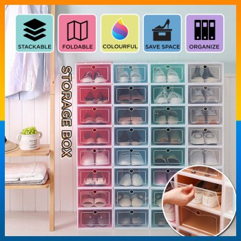 Eco-Friendly Transparent Shoe Storage Box Case Flip Per Stackable PP Plastic Shoes Box