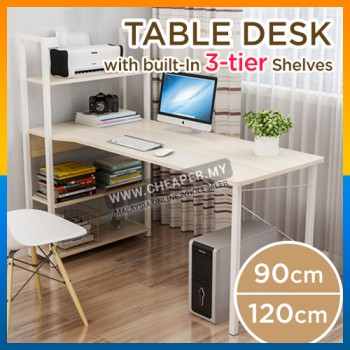 Modern Home Office Table Desk with built-In 3-Tier Shelves