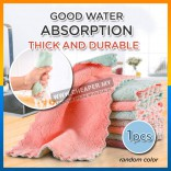 Kitchen Cleaning Dishwashing Kain dishcloth Double-Sided Rag Feece Tebal Thickened Oil-Free Absorbent