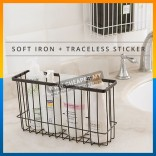 Self-Adhesion Kitchen Bathroom Iron Wire Basket Bin Storage Rack Mesh Organizer