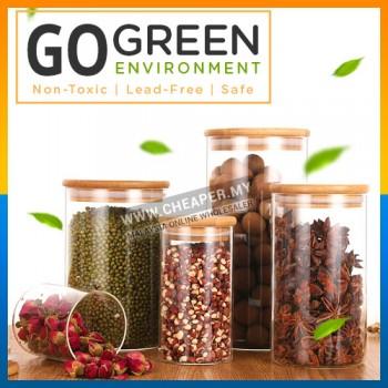Transparent Clear High Cylinder Glass Sealed Kitchen Storage Bottle Jar with Lid Container Organization