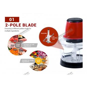 3L Powerful Stainless Steel Electric Mixer Food Chopper Pencincang Makanan Meat Grinder Pengisar Machine