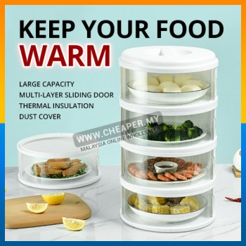 Keep Your Food Warm! New Sliding Door Food Cover Home Kitchen Transparent Stackable Food Insulation Cover