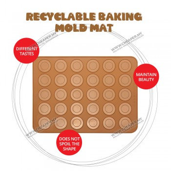Silicone 30 Macaroon Mat Mold Sheet Tray Mold Baking Pastry Oven Baking Pelapik Acuan Pad Hole Oven Baking