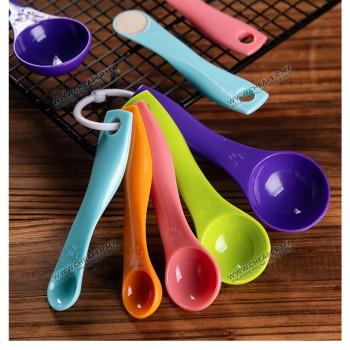 Colourful 5pcs Measuring Spoon Scale Measuring Cup Powder Auantitative Baking (1ML 2.5ML 5ML 7.5ML 15ML)