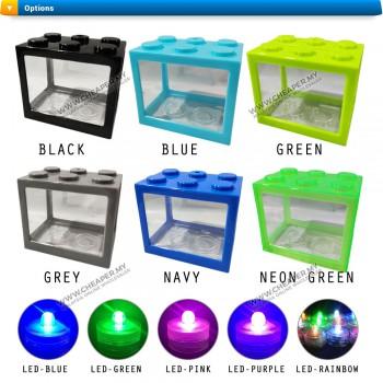 Fighting Fish Mini Aquarium Fighting Cylinder LED Building Block Fish Tank Spider Fish Sea Ikan Breeding